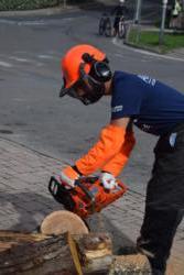 Marco S. dimostrazione dell'uso della motosega