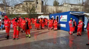 L'arrivo al campo di Norcia dei volontari Anpas Toscana